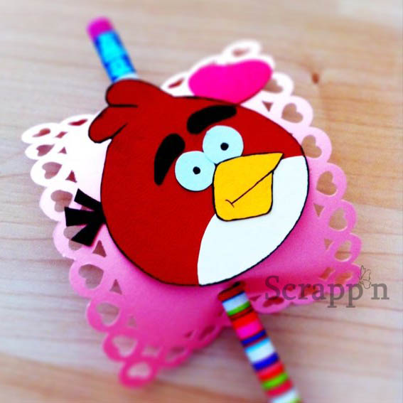 Angry Birds Valentine Pencil Topper