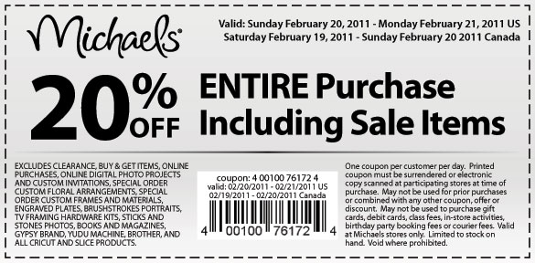 Michaels President's Day Coupons!